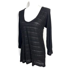 James Perse Top Black Sheer Striped 3/4 Sleeve Tee